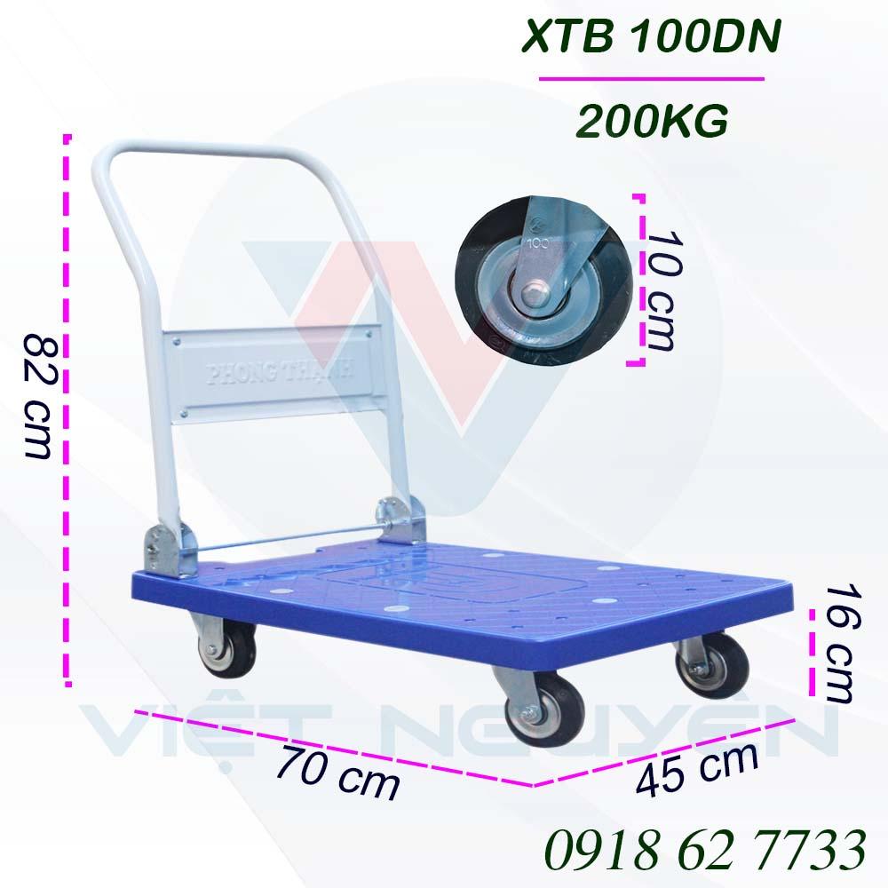 Thông số kỹ thuật xe đẩy hàng Phong Thạnh XTB 100DN 200Kg chính hãng: